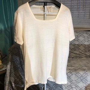 Square neck cream dress top.  3x